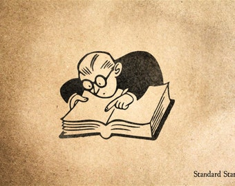 Bookworm Rubber Stamp - 2 x 2 inches