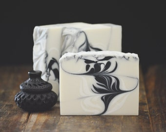 Cashmere + Amber Soap | Homemade Cold Process Soap with Activated Bamboo Charcoal, Artisan Soap Gift Bar, Handmade Vegan Soap, Scented Soap