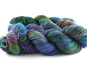 Hand Dyed Sock Yarn, Superwash Merino Wool, Blue Green Purple Red Speckled