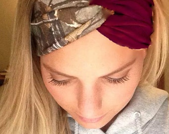 Maroon and Camo Turban Style Headband Headwrap