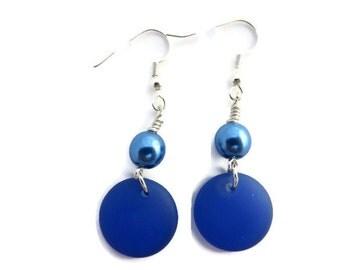Royal Blue Earring, Blue Sea Glass Earring, Blue Beach Glass Dangle, Bright Blue Earring, Cobalt Blue Dangle Earring, Blue Pearl Earring