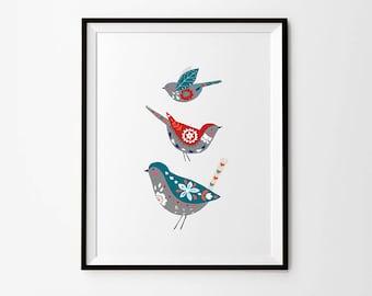Birds print, 5 x 7 in, 8 x 10 in, 11 x 14 in, A4, A3, Folk art, Scandinavian folk art, Scandinavian prints, Wall art poster, Home Decor