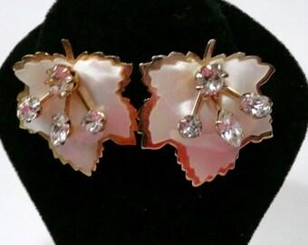 Kramer Vintage Leaf Rhinestone Clip On Earrings