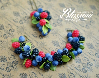 Handmade berries bracelet, Berry jewelry set, fimo berry, handmade berry, Polymer clay berry, Handmade bracelet, Handmade pendant