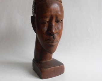 vintage wooden hand carved African man bust