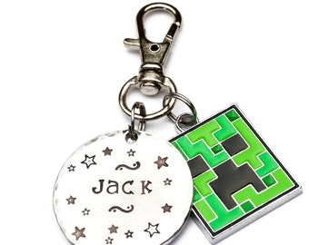 Kids Backpack Personalized Game Tag, Backpack Custom Zipper Pulls, Creeper, Axe, Diamond, Video Game  Lunchbox Tag, Kids Backpack Tag