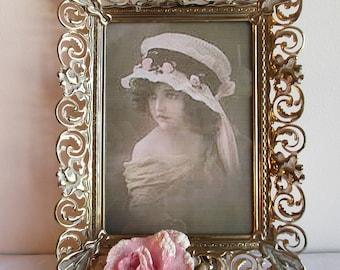 Vintage Gold-White Picture Frame,Gold White Frame,Vintage Picture Frame,Vintage Gold Picture Frame,Shabby Picture Frame,Double Picture Frame