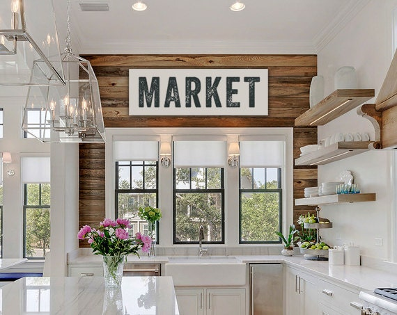 Market Sign, Large Canvas Art, Kitchen Decor, Fixer Upper Sign Joanna Gaines Inspired, Vintage-look, Custom Color, Subway Art, Kitchen Art