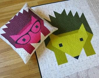 Hazel Hedgehog II quilt pattern - Elizabeth Hartman, Oh Fransson - woodland quilt pattern, modern quilt pattern, hedgehog, baby quilt