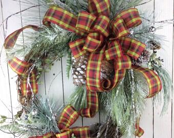 Christmas Wreath with snow,Natural Christmas Wreath,Classic Christmas Wreath,Christmas Front Door ,Burlap Christmas,Large Christmas wreath