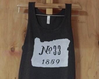 Oregon No.33, 1859 Tank Top; Heather Black Bella 3480 52/48 Unisex Jersey Tank; FREE SHIPPING