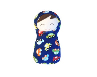 "Baby Doll in Royal Blue Minky Printed with Cars, First Baby Doll, Brunette 10"" High"