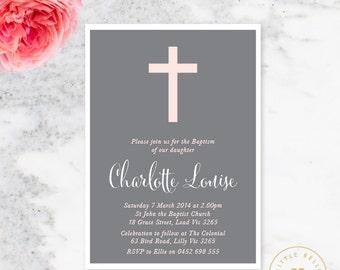 Girl Baptism Invitation Printable / Girl Christening Invite / Cross
