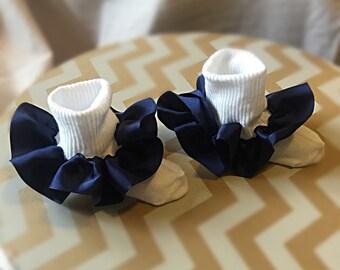 Navy blue ruffle socks, navy blue frilly socks, navy blue pageant socks