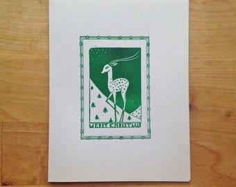 Letterpress holiday card – vintage woodcut Christmas deer