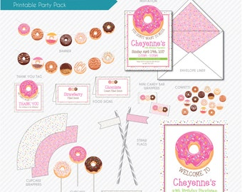 PRINTABLE PARTY PACK | Donuts and Sprinkle Theme | Birthday Party