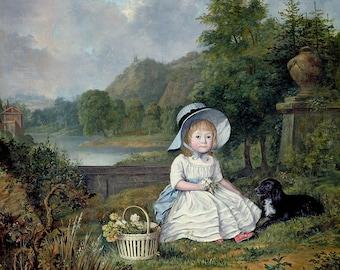 "Lewis Vaslet : ""Portrait of Miss Elizabeth Heathcote"" (1788) - Giclee Fine Art Print"