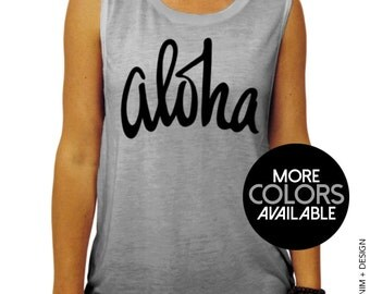 Aloha Muscle Tee Tank T-shirt - MORE COLORS AVAILABLE,gym tank
