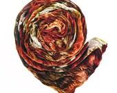 """Brown velvet scarf - crinkle velvet - brown, rust, orange, olive, gold, taupe - hand dyed - silk blend  velvet - 13""""x59"""" - autumn leaves"""