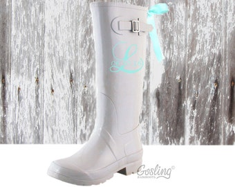 Ladies Monogram Rubber Boots, rain boots with bow, Something Blue, Ivory Rain Boots, Aqua Bows, Wedding Wellies