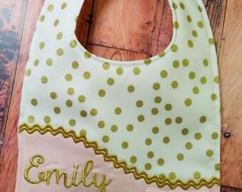 Personalized Bib, - Monogrammed Baby Bib, - Pink and Gold Bib, - Reversible Baby Bib, - Baby Shower Gift