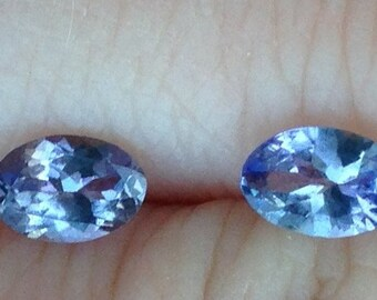Tanzanites: Two Natural Matching Accent Gems 3.75x5.75mm Each 0.30 Carat Ovals with Video