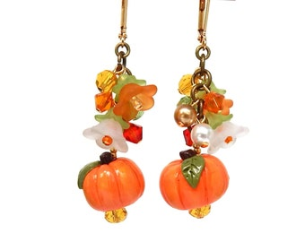 Pumpkin Earrings, Polymer Clay and Swarovski Crystals, Fall Jewelry, Autumn Colors, Orange Pumpkins, Thanksgiving Earrings, Fall Wedding