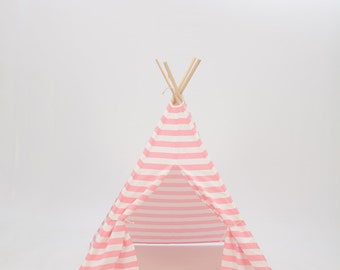 SALE!! Poles Included Teepee Play Tent Pink and White Stripe 4 Panel