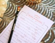 Vintage Hipster Wedding Madlibs - Elegant Wed Libs - Printable Mad Libs - Wedding Reception Game - Alternative Guestbook - Coraline