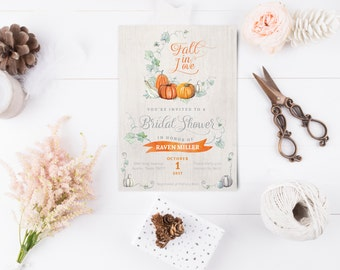 Fall In Love - Pumpkin Bridal Shower Invitation - Autumn or Fall Wedding Shower Invite - Instant Download