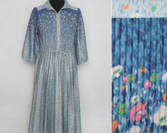 1970s Blue Floral Pleated Shirt Dress