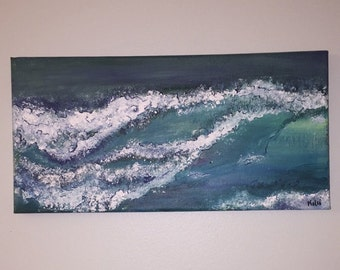 Acrylic Wave Painting on Canvas (14x7)