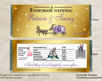 Fairytale Wedding, Theme, Favors, Princess Favors, Horse and Carriage, Candy Bar Wrapper, Wedding Favors, Birthday (Set of 12)(WCarrAwaits)