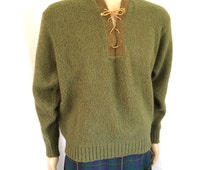 1960s Towne and King California Fuzzy Lambswool Sweater Sz. XL