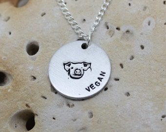 Vegan Pig hand stamped necklace - exclusive design