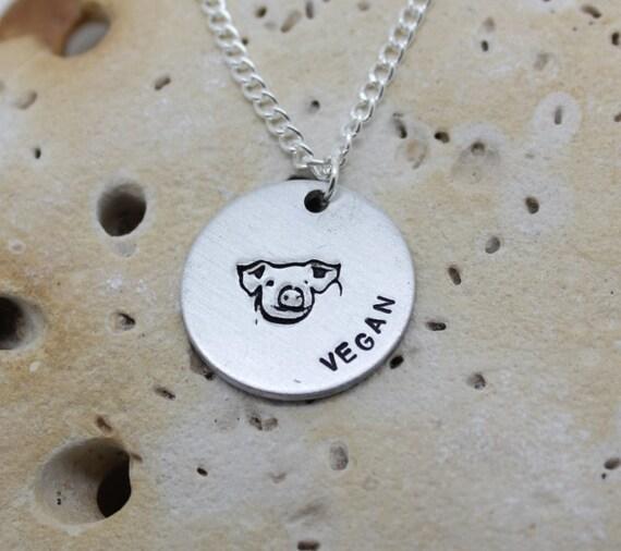 Vegan Pig hand stamped necklace - exclusive design