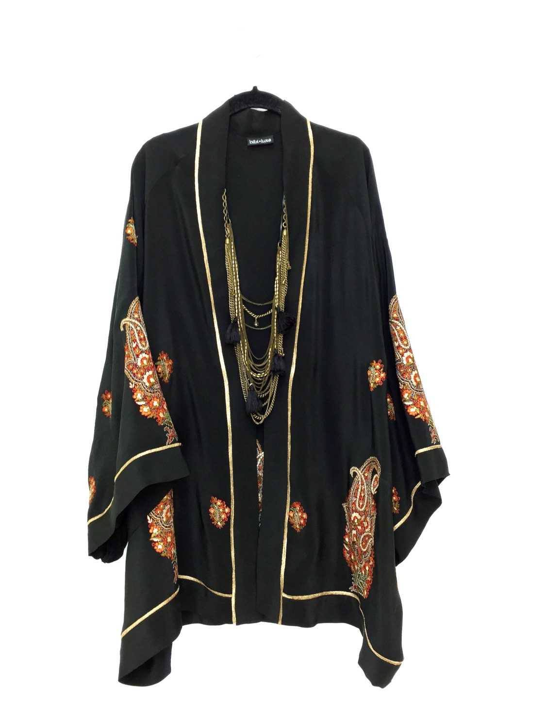 Black Silk Kimono Jacket Beach Cover Up With An Indian