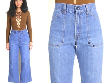 Vintage 70s Denim Blue Jeans High Waist Bell Bottoms Pants Studded Hippie Festival