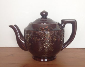 Vintage Japanese redware teapot clay tea pot hand painted flower decor