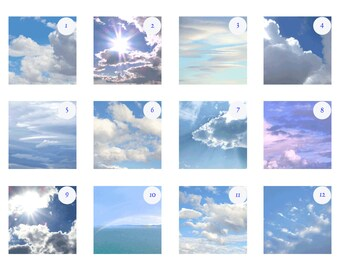 Cloudy Skies Print Set, Custom Photo Set, Cloud Photography, Blue Sky Art, Nursery Decor 5x5 8x8 10x10 12x12 Discounted Set White Wall Decor