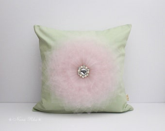 Nursery Pillow Mint and Pink Flower Decorative Pillow Cushion Cover Pillow Cover Accent Pillows Mint and Pink Decor 16X16