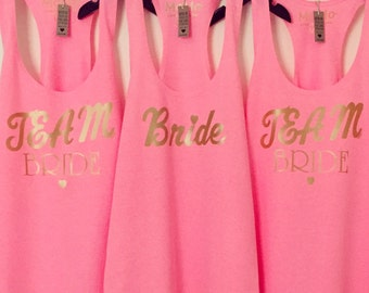 Team Bride Tanks- Neon Heather Pink