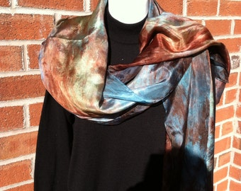Hand dyed silk shawl