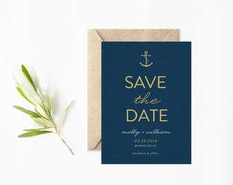 Anchor Save The Date, Photo Save The Date, Nautical Summer Wedding