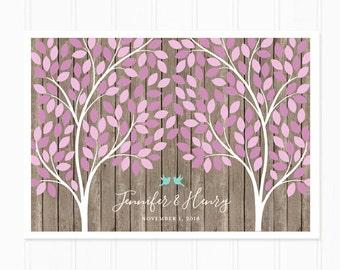 Wedding Guest Book Purple Leaves 200 Guest Rustic Wedding Tree