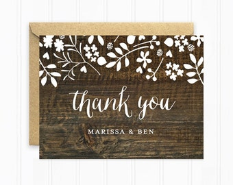 Rustic Wedding Thank You Cards, Wood Wedding Stationery with Dark Wood Background