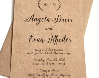 Rustic Calligraphy Wedding Invitations