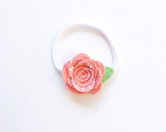 Felt Rose Headband | Nylon Baby Headband | Felt/Glitter Mix Flower Headband | Flower Headband | Baby Girl Headband | Pink Flower Headband