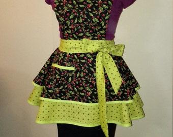 Custom Handmade Flirty Apron, Tomato Vine Print, Black and Green Apron - Sandy