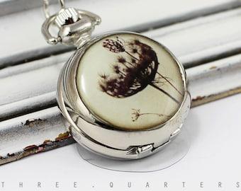 watch chain, chain watch, dandelion, black, white, dandelion, photography, vintage, retro, gray, pocket watch, necklace, watch, nature, boho